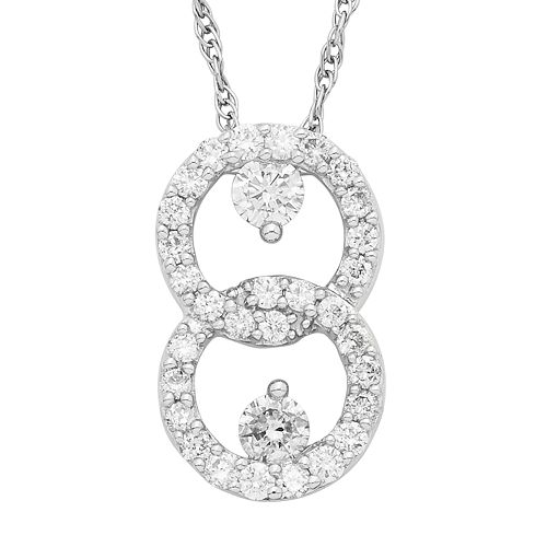 10k White Gold 1/2 Carat T.W. Diamond 2-Stone Pendant Necklace