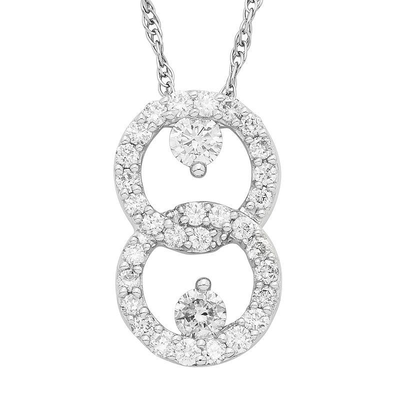 "10k White Gold 1/2 Carat T.W. Diamond 2-Stone Pendant Necklace, Women's, Size: 18"""