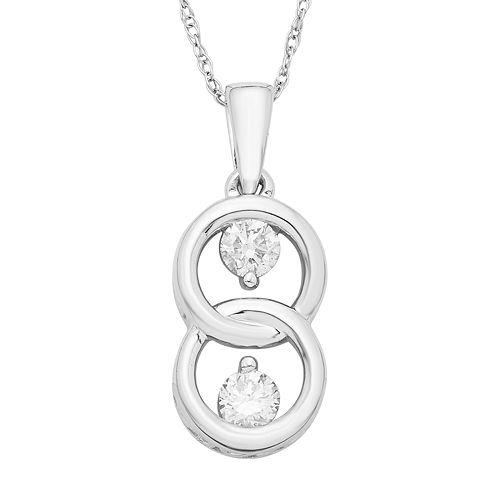 10k White Gold 1/5 Carat T.W. Diamond 2-Stone Pendant Necklace