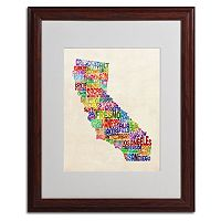 Trademark Global California City Wood Framed Canvas Wall Art