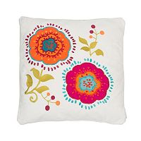 Levtex Tivoli Bone Applique Flowers Throw Pillow