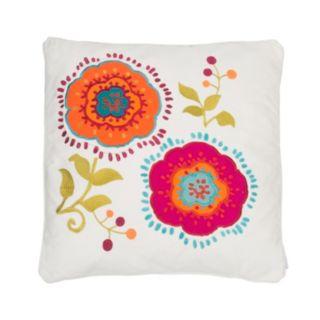 Levtex Tivoli Bone Applique Flowers Throw Pillow