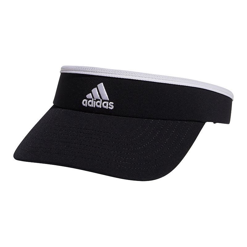 Women's Adidas climalite Visor, Black Sporty with mesh accents, this women's Adidas visor is made for the active woman. HAT Features climalite technology Visor styling Fabric & Care Polyester, spandex Hand wash Imported HAT Details 4-in. brim Size: One Size. Color: Black. Gender: Female. Age Group: Adult.