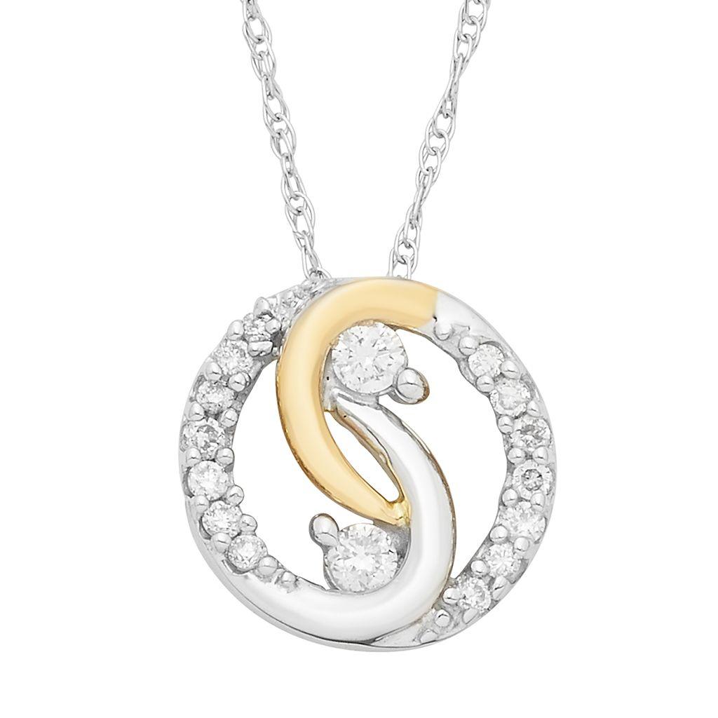 Two Tone 10k Gold 1/10 Carat T.W. Diamond 2-Stone Pendant Necklace