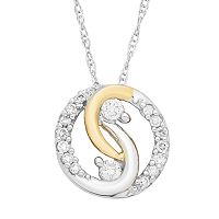 Two Tone 10k Gold 1/10 Carat T.W. Diamond 2-Stone Pendant Necklace