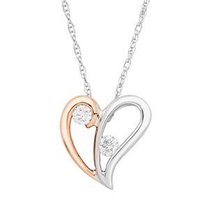 Two Tone 10k Gold 1/10 Carat T.W. Diamond 2-Stone Heart Pendant Necklace