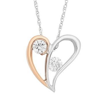 Two Tone 10k Gold 1/5 Carat T.W. Diamond 2-Stone Heart Pendant Necklace