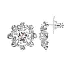 Silver Tone Starburst Stud Earrings