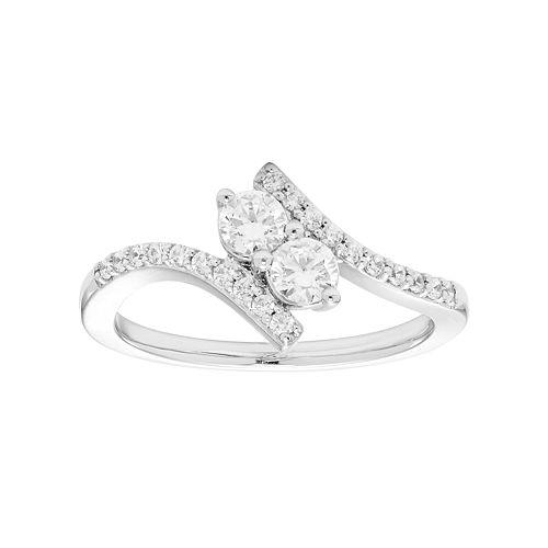 10k White Gold 1/2 Carat T.W. Diamond 2-Stone Ring
