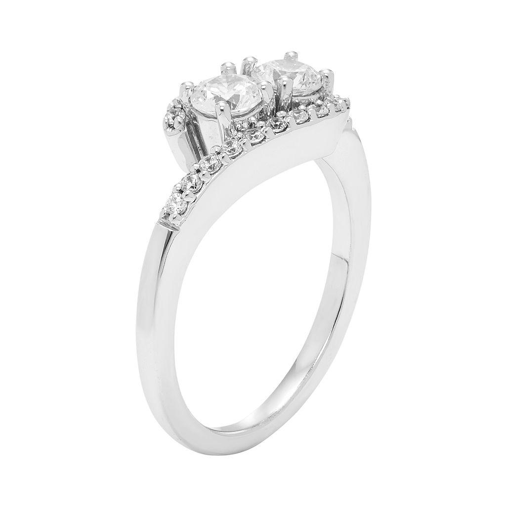 10k White Gold 3/4 Carat T.W. Diamond 2-Stone Ring