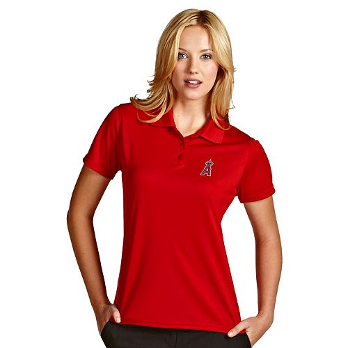 Women's Antigua Los Angeles Angels of Anaheim Exceed Desert Dry Xtra-Lite Performance Polo