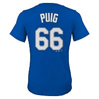 Girls 7-16 Majestic Los Angeles Dodgers Yasiel Puig Player Name and Number Tee