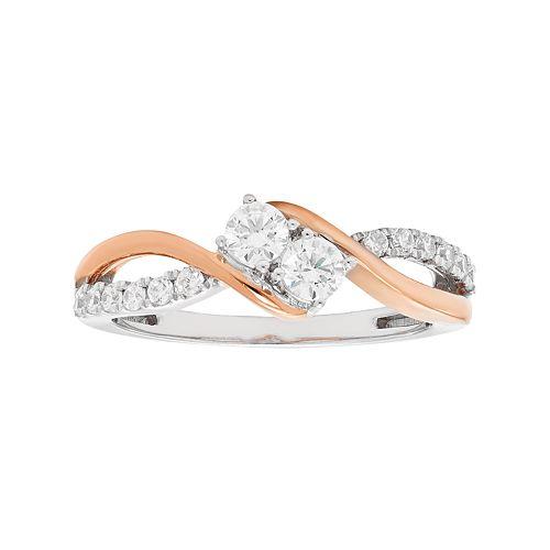 Two Tone 10k Gold 1/2 Carat T.W. Diamond 2-Stone Ring