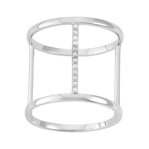Cubic Zirconia Sterling Silver H Ring