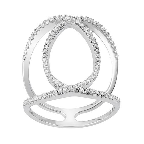 Cubic Zirconia Sterling Silver Double C Ring