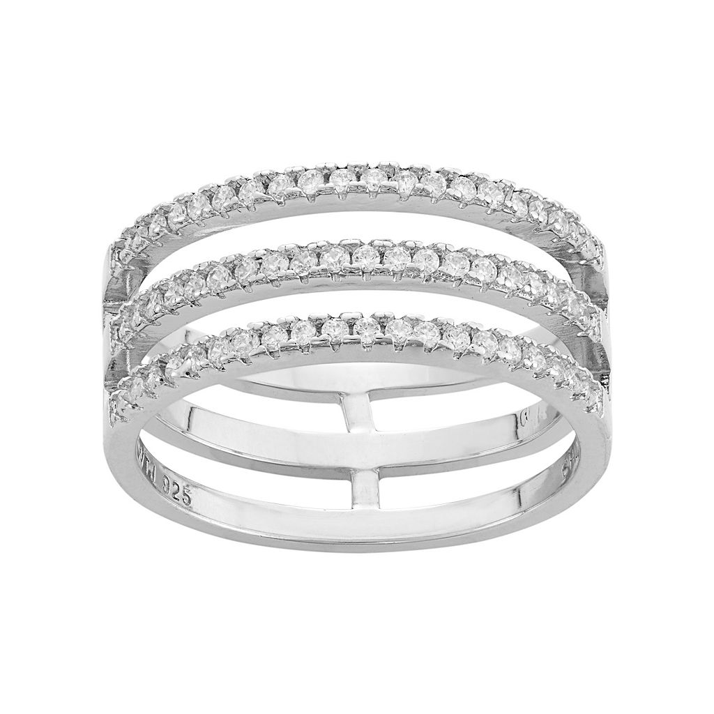 Cubic Zirconia Sterling Silver 3-Row Ring