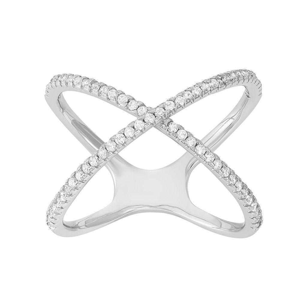 Cubic Zirconia Sterling Silver Crisscross Ring