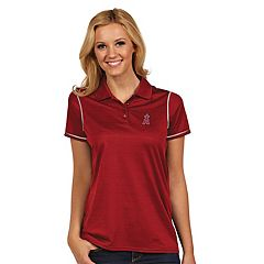 Women's Antigua Los Angeles Angels of Anaheim Icon Desert-Dry Tonal-Striped Performance Polo
