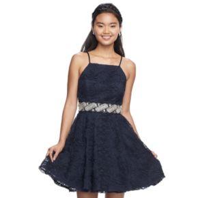 Juniors' Trixxi Soutache Sleeveless Dress