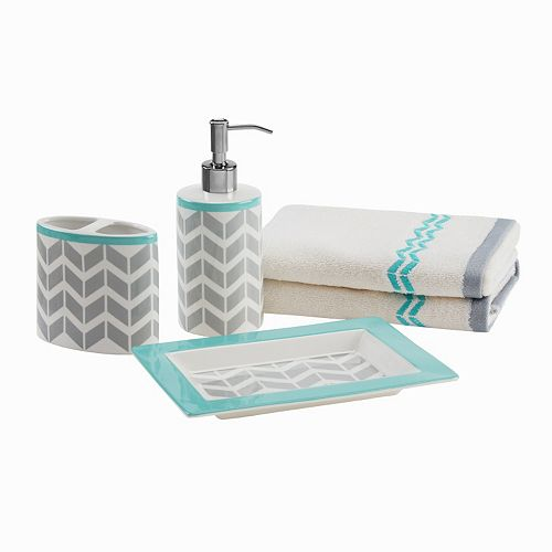 Intelligent Design 5-piece Chevron Bath Accessory Set