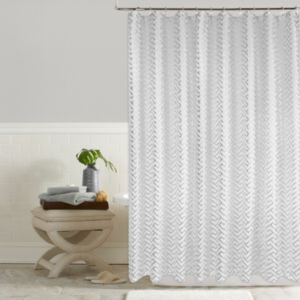 Colordrift Troy Metallic Greek Key Shower Curtain