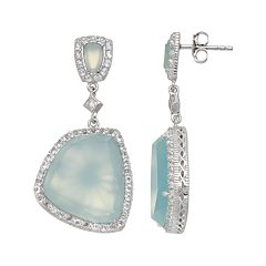 SIRI USA by TJM Sterling Silver Chalcedony & White Topaz Drop Earrings