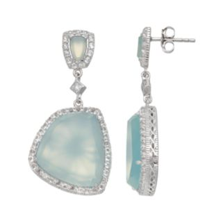 SIRI USA by TJM Sterling Silver Chalcedony & White Topaz Drop Earrings