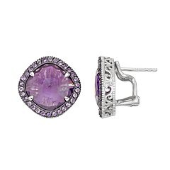 SIRI USA by TJM Sterling Silver Amethyst Halo Stud Earrings