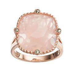 Lavish by TJM 18k Rose Gold Over Silver Rose Quartz & Marcasite Ring