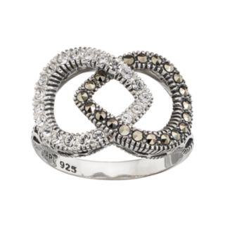 Lavish by TJM Sterling Silver Marcasite & Crystal Teardrop Ring