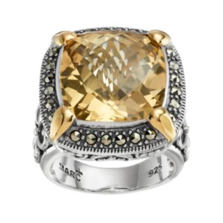 Lavish by TJM Sterling Silver Champagne Quartz & Marcasite Halo Ring