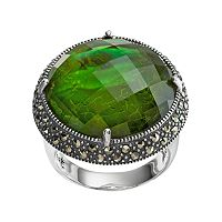 Lavish by TJM Sterling Silver Abalone Doublet & Marcasite Halo Ring