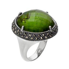 Lavish by TJMSterling Silver Abalone Doublet & Marcasite Halo Ring