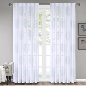 Madison Park 1-Panel Isla Sheer Branch Flocking Window Curtain
