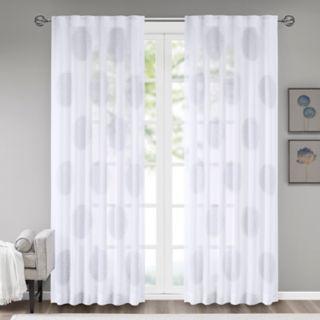 Madison Park 1-Panel Isla Sheer Branch Flocking Window Curtain