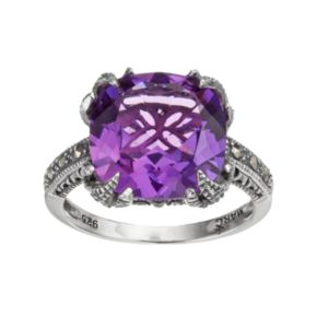 Lavish by TJM Sterling Silver Lab-Created Amethyst & Marcasite Ring