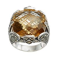 Lavish by TJM Sterling Silver Champagne Quartz & Marcasite Ring
