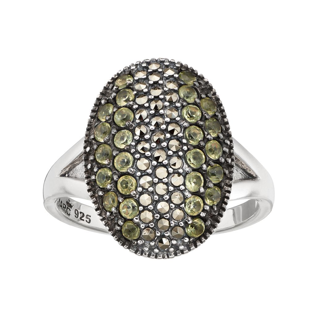 Lavish by TJM Sterling Silver Peridot & Marcasite Oval Ring