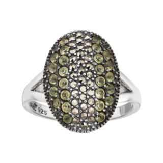 Lavish by TJMSterling Silver Peridot & Marcasite Oval Ring