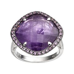 SIRI USA by TJM Sterling Silver Amethyst Halo Ring
