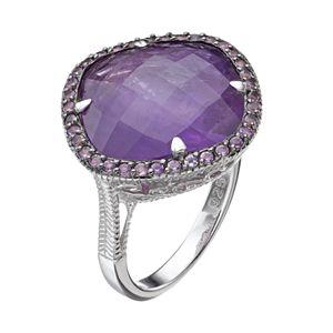 SIRI USA by TJM Sterling Silver Amethyst Halo Ring