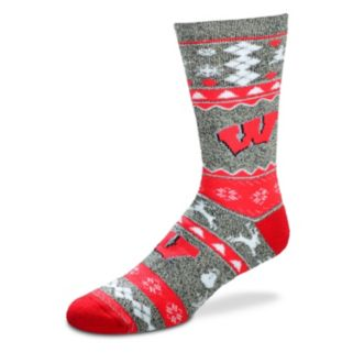 Men's For Bare Feet Wisconsin Badgers Holiday Crew Socks