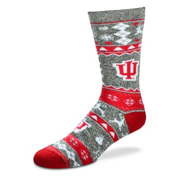 Men's For Bare Feet Indiana Hoosiers Holiday Crew Socks