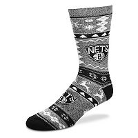 Men's For Bare Feet Brooklyn Nets Holiday Crew Socks
