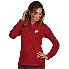 Women's Antigua Wisconsin Badgers Waterproof Golf Jacket