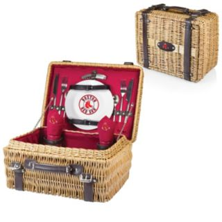 Picnic Time Boston Red Sox Red Champion Willow Picnic Basket with Service for 2