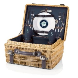 Picnic Time Seattle Mariners Champion Willow Picnic Basket with Service for 2