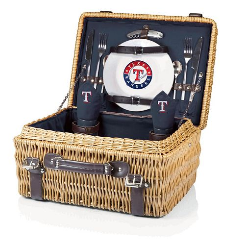 Picnic Time Texas Rangers Champion Willow Picnic Basket with Service for 2