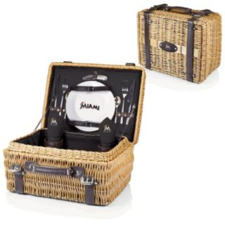Picnic Time Miami Marlins Champion Willow Picnic Basket with Service for 2