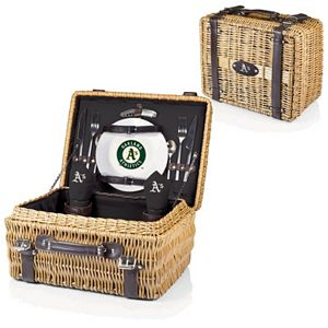 Picnic Time Oakland Athletics Champion Willow Picnic Basket with Service for 2